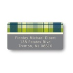 Playful Plaid in Green -- Baby Address Labels