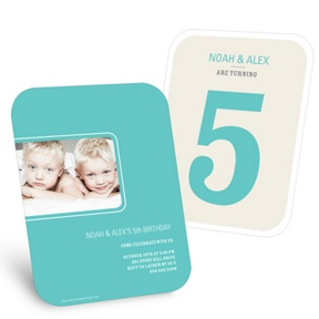 Bold Numbers in Aqua -- Kids Birthday Party Invitations