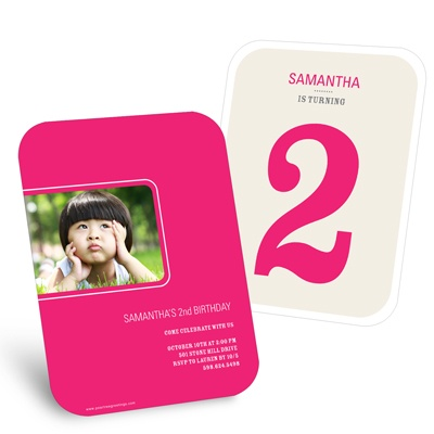 Bold Numbers in Pink -- Kids Birthday Party Invitations