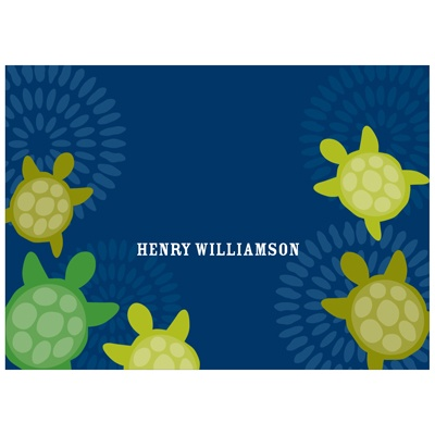 Sea of Turtles in Blue Kids Personalized Stationery