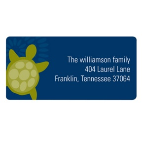 Sea of Turtles in Blue -- Kids Address Labels