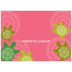 Sea of Turtles in Pink -- Kids Personalized Stationery