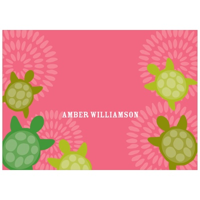 Sea of Turtles in Pink Kids Personalized Stationery