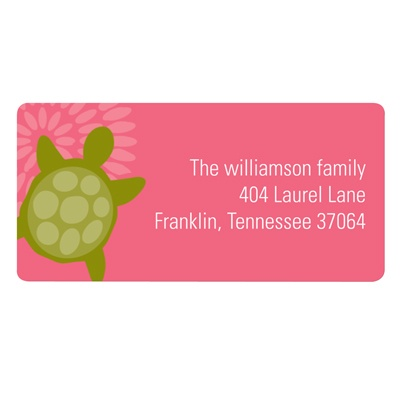 Sea of Turtles in Pink Kids Address Labels