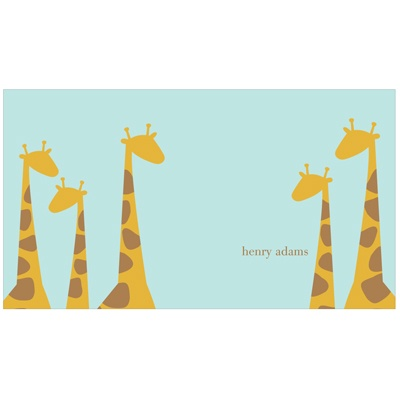 Giraffe Family in Blue Kids Stationery