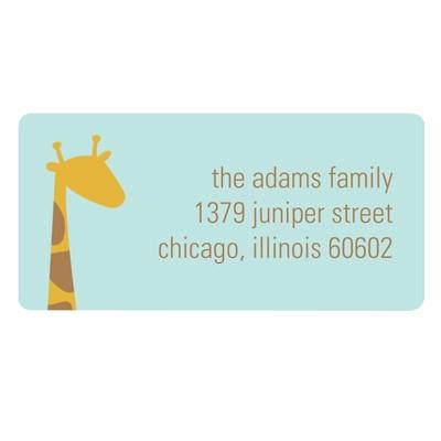 Peeking Giraffe in Blue Kids Address Label