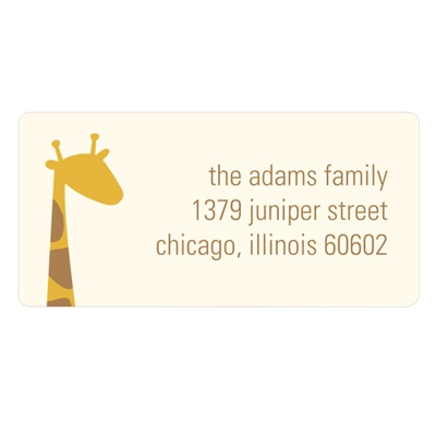 Peeking Giraffe in Ecru Kids Address Label