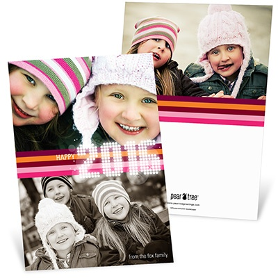 Bright Lights and Stripes -- Pink Happy New Year's Card