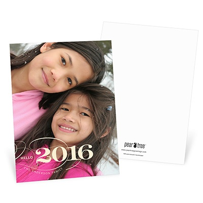 Classy Greeting Vertical Photo New Year's Cards