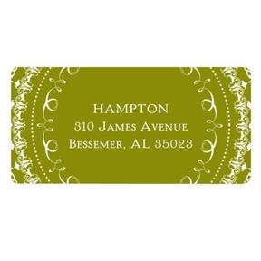 Damask Circle -- Wedding Address Label