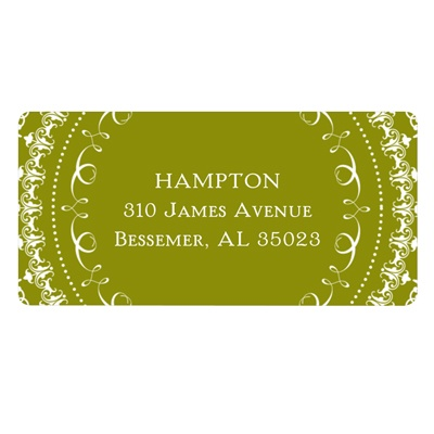 Damask Circle Wedding Address Label