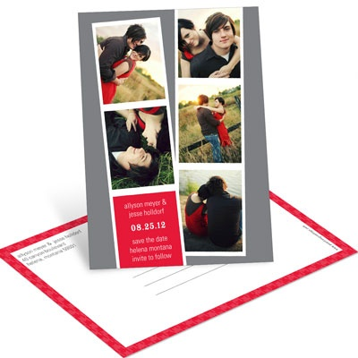 Photo Booth Strips Save the Date Postcards