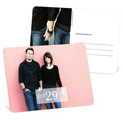 Simple Happiness Horizontal Photo Save the Date Postcards