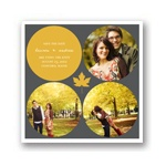 Circles and Leaf -- Fall Save the Date Cards