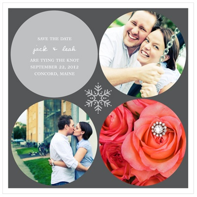 Circles and Snowflake -- Winter Save the Date Cards