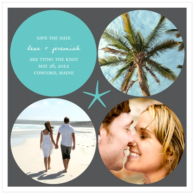 Circles and Starfish -- Destination Wedding Save the Date Cards