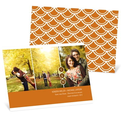 Triple Effect Monogram Photo Save the Date Card