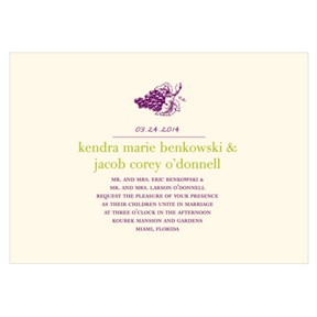 Simply Vineyard -- Grape Wedding Invitations