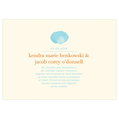Chic Shell Destination Wedding Invitations