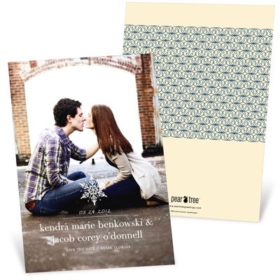 Stylish Snowflake Save The Date Cards