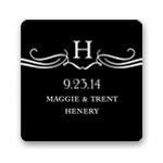 Flourished Monogram -- Wedding Favor Stickers