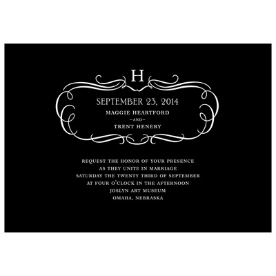 Flourished Monogram -- Fancy Wedding Invitations
