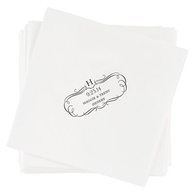 Flourished Monogram Personalized Wedding Napkins