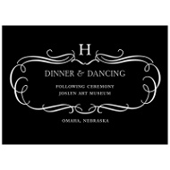 Flourished Monogram Fancy Reception Cards