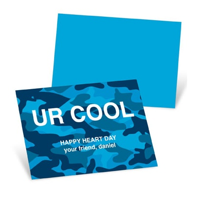 Cool Camouflage in Blue Valentine's Day Cards for Kids