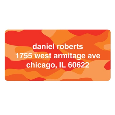 Cool Camouflage in Orange -- Valentine's Day Address Labels