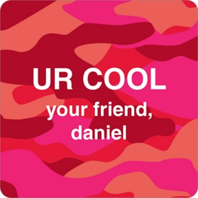 Cool Camouflage in Red -- Valentine's Day Personalized Stickers