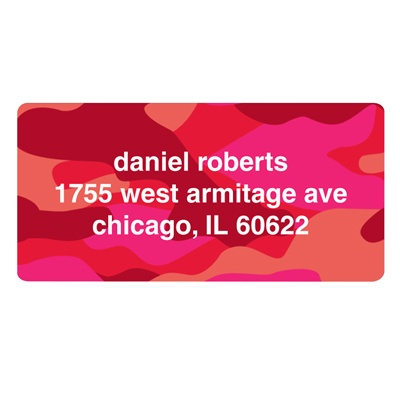 Cool Camouflage in Red Valentine's Day Address Labels