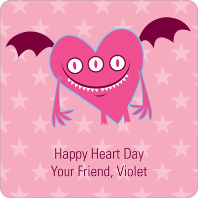 Pink Monster Valentine's Day Personalized Stickers