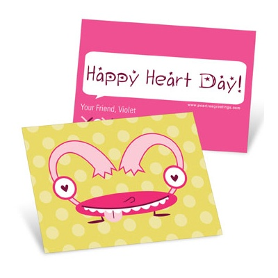Monster Heart in Pink Valentine's Day Cards for Kids