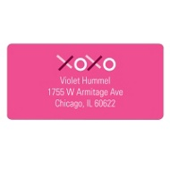 XOXO in Pink Valentine's Day Address Labels