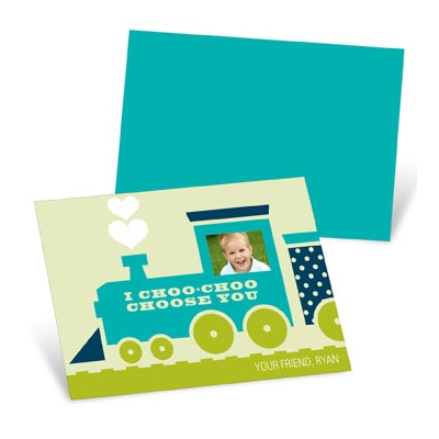 Choo Choo Love Train in Green Valentine's Day Cards for Kids