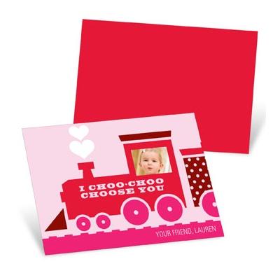 Choo Choo Love Train in Pink  Valentine's Day Cards for Kids