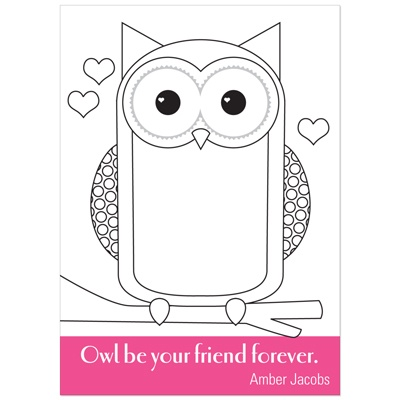 All Eyes on Owl -- Colorable Valentine Cards