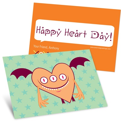 Orange Monster -- Kids Valentine's Day Cards