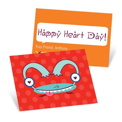 Monster Heart in Blue Valentine's Day Cards for Kids