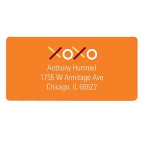 XOXO in Orange -- Valentine's Day Address Labels