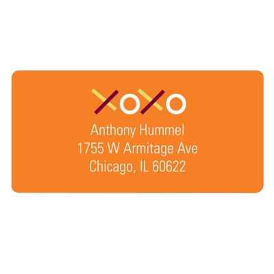 XOXO in Orange Valentine's Day Address Labels