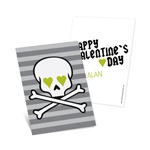 Skulls and Hearts in Green -- Kids Valentine's Day Cards