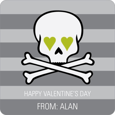 Skulls and Hearts in Green -- Valentine's Day Personalized Stickers