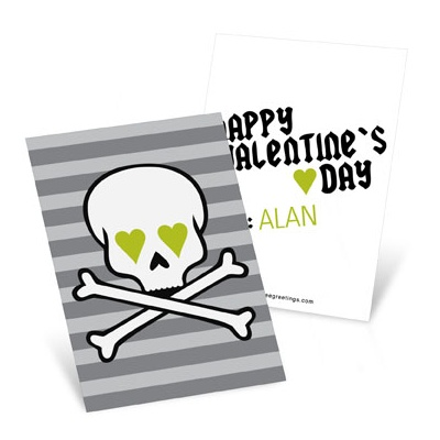 Skulls and Hearts in Green Valentine's Day Cards for Kids