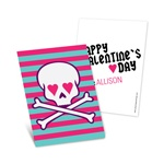 Skulls and Hearts in Pink -- Kids Valentine's Day Cards