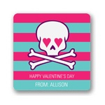 Skulls and Hearts in Pink -- Valentine's Day Personalized Stickers