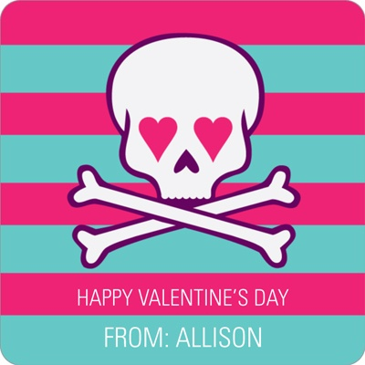 Skulls and Hearts in Pink Valentine's Day Personalized Stickers