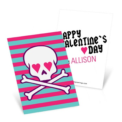 Skulls and Hearts in Pink Valentine's Day Cards for Kids