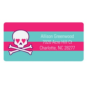 Skulls and Hearts in Pink -- Valentine's Day Address Labels